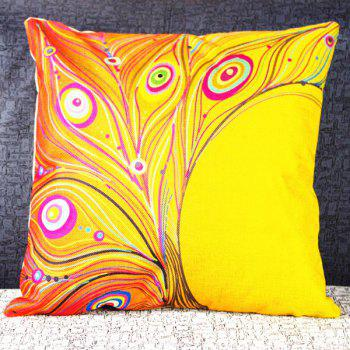 Colorful Square Peacock Feather Pattern Pillowcase(Without Pillow Inner)