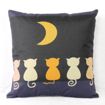 Colorful Cat Pattern Linen Decorative Pillowcase (Without Pillow Inner)