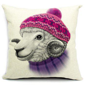 Lovely Animal Pattern Printed Square Composite Linen Cotton Blend Pillow Case(Without Pillow Inner)