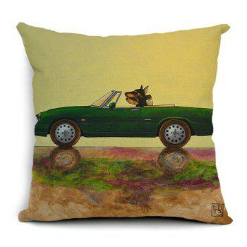 Simple Creative Cartoon Car and Dog Pattern Pillow Case (Without Pillow Inner) - RANDOM COLOR PATTERN