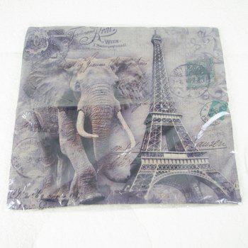 Fashionable Elephant and Eiffel Tower Printed Square Composite Linen Blend Pillow Case - COLORMIX