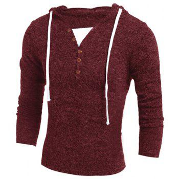 Single-Breasted Drawstring Hooded Solid Color Slimming Long Sleeves Men's Thicken Sweater WINE RED