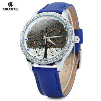 SKONE 9195 Women Quartz Imitation Diamond Wrist Watch with Tree Design Dial PU Strap