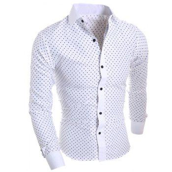 Buy Turn-Down Collar Classical Long Sleeve Slimming Stars Print Men's Shirt WHITE