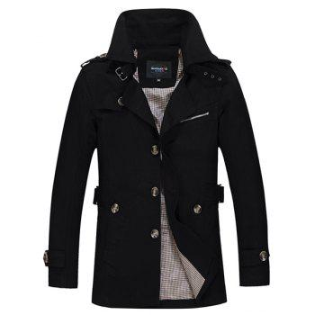 Epaulet Turn-Down Collar Single Breasted Long Sleeve Men's Trench Coat