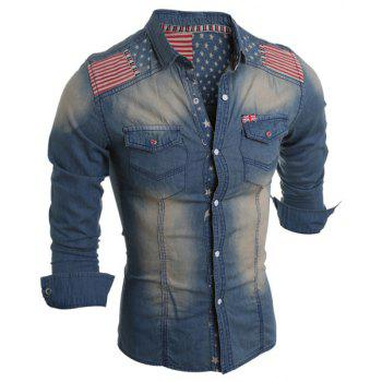 Bleach Wash Turn-Down Collar Stars Print Long Sleeve Stripe Splicing Men's Denim Shirt