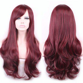 Glam Side Bang Long Capless Vogue Towheaded Wavy Claret Heat Resistant Fiber Wig For Women