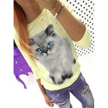 Cute Round Collar 3/4 Sleeve 3D Cat Printed T-Shirt For Women - YELLOW M
