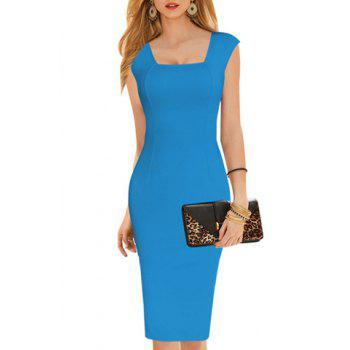 Sexy Square Neck Sleeveless Bodycon Pure Color Women's Dress