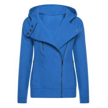 Trendy Long Sleeve Hooded Pure Color Women's Zip Up Hoodie