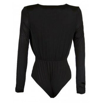 Casaul Long Sleeve Plunging Collar Solid Color Women's Romper - BLACK S
