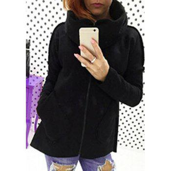 Attractive Thick Turtleneck Pocket Design Zip Up Jacket For Women