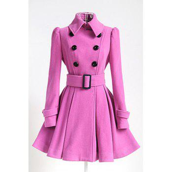 Double Breasted Fit and Flare Wool Coat - PINK PINK