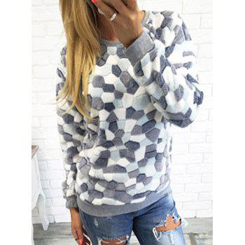Stylish Long Sleeve Round Neck Rhombus Pattern Women's Sweatshirt