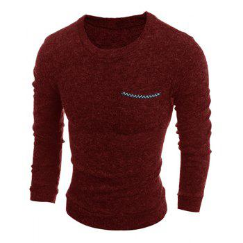 Solid Color Round Neck Edging Pocket Long Sleeve Men's Sweater - WINE RED M