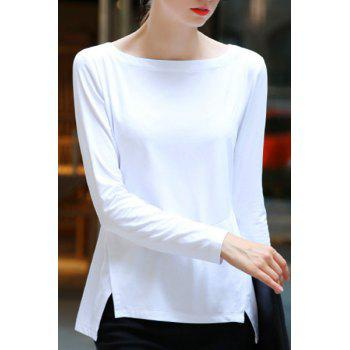 Brief Women's Slash Neck Long Sleeve High-Low T-Shirt