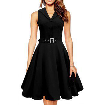 Noble Sleeveless Turn-Down Collar Solid Color Button Decorate A-Line Dress