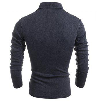 Button Embellished Turn-Down Collar Long Sleeve PU-Leather Splicing Men's T-Shirt - DEEP GRAY M