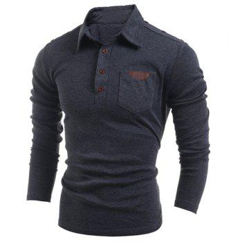Button Embellished Turn-Down Collar Long Sleeve PU-Leather Splicing Men's T-Shirt