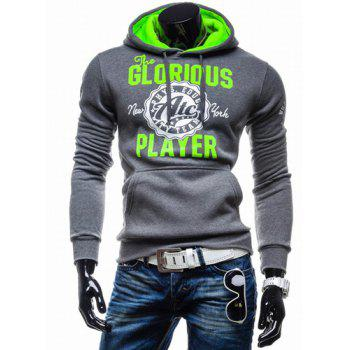 Vogue Drawstring Hooded Letters Logo Print Front Pocket Hit Color Long Sleeves Men's Slimming Hoodie