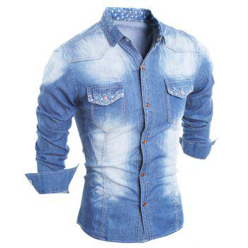 Star Pattern Lining Turn-Down Collar Long Sleeve Printed Button Men's Chambray Shirt