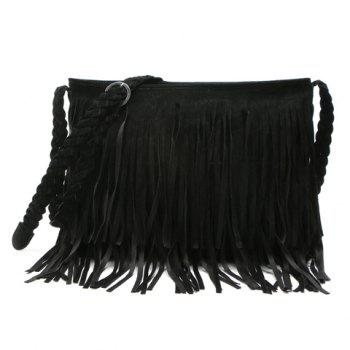 Stylish Fringe and Weaving Design Crossbody Bag For Women