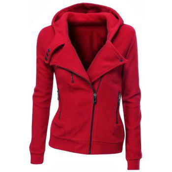 Stylish Hooded Long Sleeve Slimming Zippered Women's Hoodie