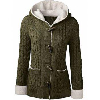Women's Chic Long Sleeve Solid Color Hooded Cardigan
