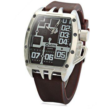 Oulm 3286 Rubber Band Male Sports Quartz Watch with Big Dial