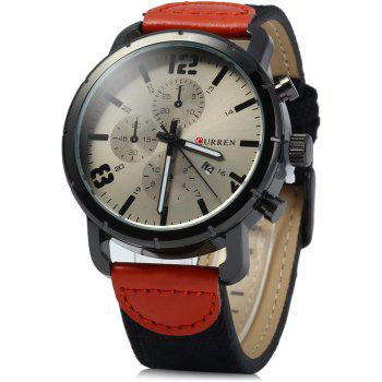 Curren 8194 Men Quartz Watch Date Display Canvas + Leather Strap