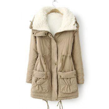 Endearing Thick Turn-Down Collar Drawstring Fleece Coat For Women