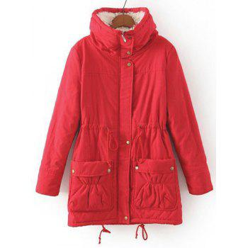 Endearing Thick Turn-Down Collar Drawstring Fleece Coat For Women - RED RED
