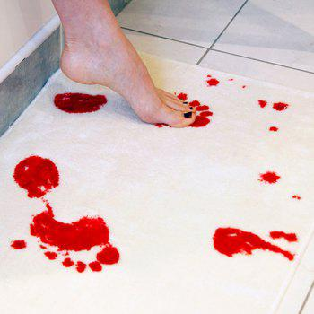 Fashion Bloody Footprint Pattern Bathroom Rug - RED WITH WHITE RED/WHITE