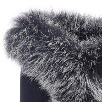 Fashionable Faux Fur and Flock Design Mid-Calf Boots For Women - BLACK 35