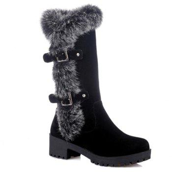 Fashionable Faux Fur and Flock Design Mid-Calf Boots For Women - BLACK 36