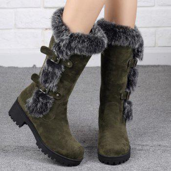 Fashionable Faux Fur and Flock Design Mid-Calf Boots For Women - ARMY GREEN 34