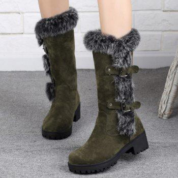 Fashionable Faux Fur and Flock Design Mid-Calf Boots For Women - ARMY GREEN 38