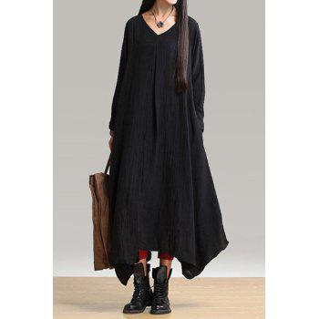 V-Neck Long Sleeve Loose-Fitting Linen Dress
