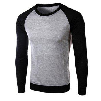 Classic Color Block Splicing Round Neck Long Sleeves Men's Slimming T-Shirt