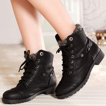 Retro Engraving and Lace-Up Design Sweater Boots For Women - BLACK 38