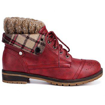 Retro Engraving and Lace-Up Design Swaeter Boots For Women - WINE RED 37