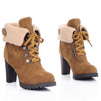 Chunky Heel Foldover Booties - BROWN 36