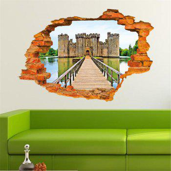 Personalized 3D Old Castle Style Removable Wall Stickers Colorful Room Window Decoration