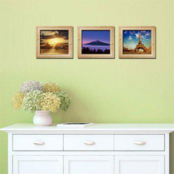 Personalized 3D Frame Scenery Painting Style Removable Wall Stickers Colorful Room Window Decoration