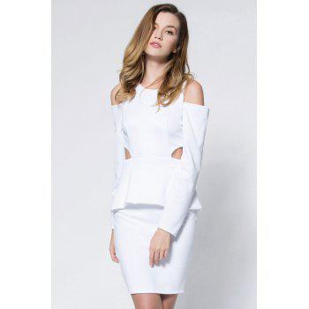 Crepe Cold Shoulder Cage Back Body-Conscious Dress