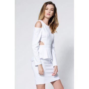 Crepe Cold Shoulder Cage Back Body-Conscious Dress - WHITE WHITE
