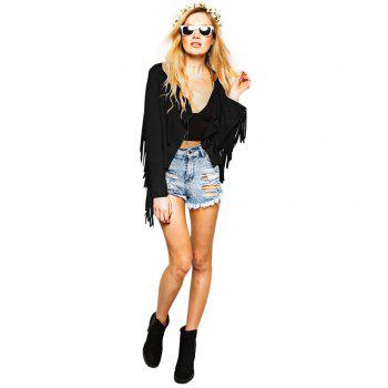 Street Style Turn Down Collar Long Sleeve Solid Color Fringed Women's Coat