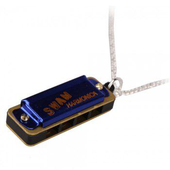 Cute Swan Necklace Style Mini Harmonica 4 Hole 8 Tone - BLUE BLUE