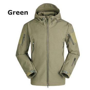 Windproof Warm Softshell Mountaineering Jackets with TAD Sharkskin - GREEN XL