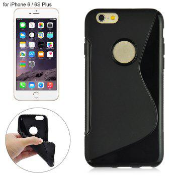 Angibabe Phone Back Case Protector for iPhone 6 / 6S Plus with Round Hole S Design TPU Material - BLACK BLACK